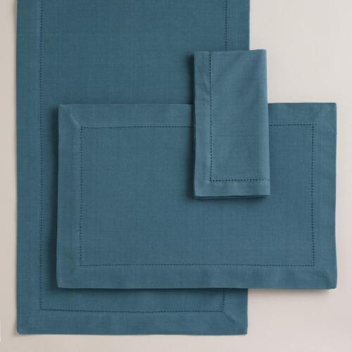 Aegean Blue Hemstitch Table Linens Collection