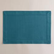 Aegean Blue Hemstitch Placemats, Set of 4