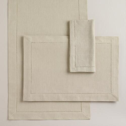 Parchment Hemstitch Table Linens Collection