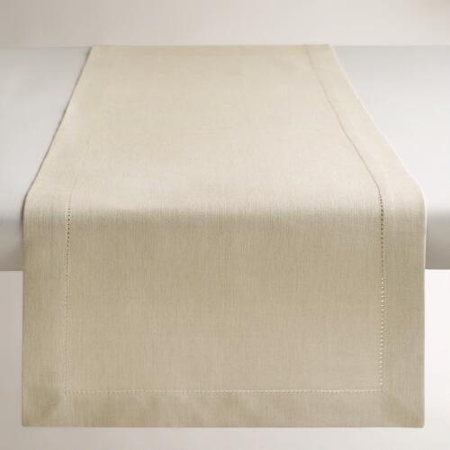 Parchment Hemstitch Table Runner