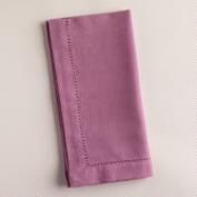 Pearly Purple Hemstitch Napkins, Set of 4
