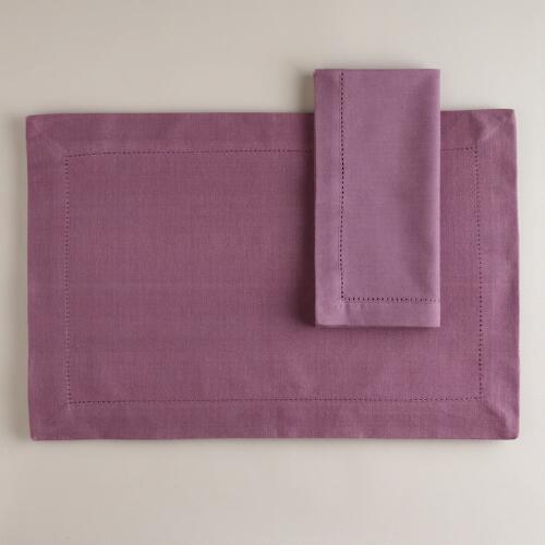 Pearly Purple Hemstitch Table Linens Collection