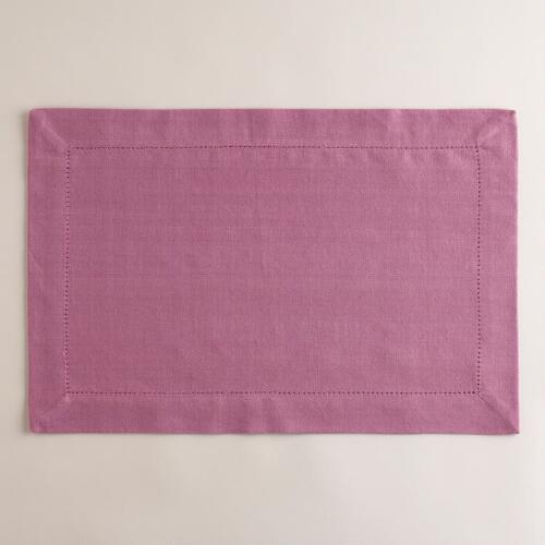Pearly Purple Hemstitch Placemats, Set of 4