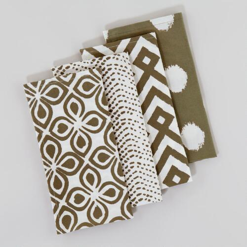Green Mombasa Napkins, Set of 4