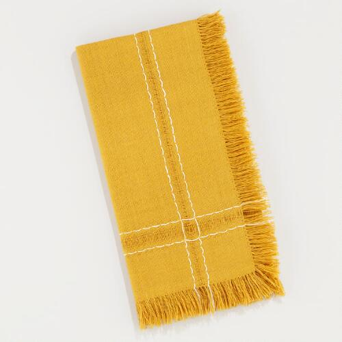 Dark Amber Fringe Napkins, Set of 4