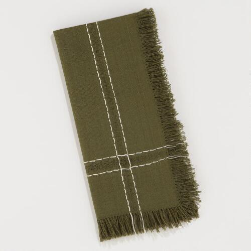 Moss Fringe Napkins, Set of 4