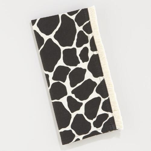 Black Giraffe Fringe Napkins, Set of 4