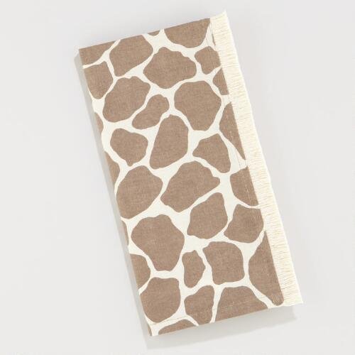 Natural Giraffe Fringe Napkins, Set of 4