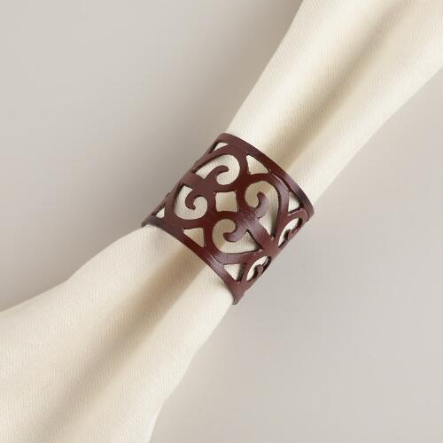 Metal Scroll Napkin Rings, Set of 4