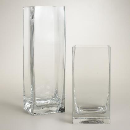 Clear Glass Square Vases