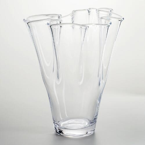 Clear Handkerchief Ruffle Glass Vase