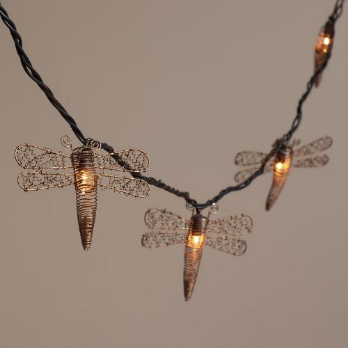 Copper Dragonfly 10 Bulb String Lights