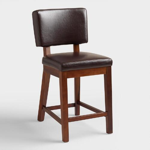 Espresso Bonded Sophia Leather Counter Stools, Set of 2