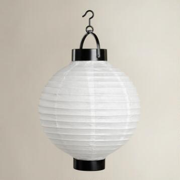 White Battery-Operated Paper Lanterns, Set of 4