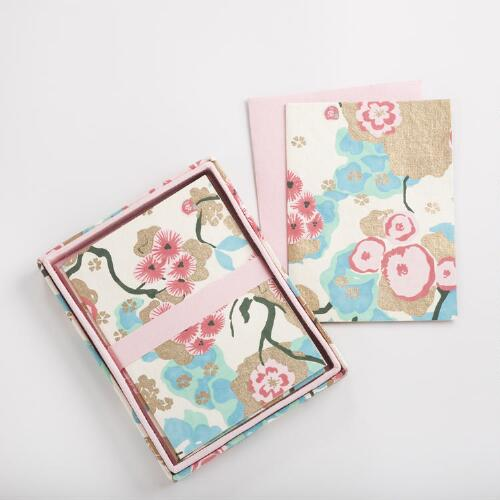 Asian Floral Note Cards, Set of 8