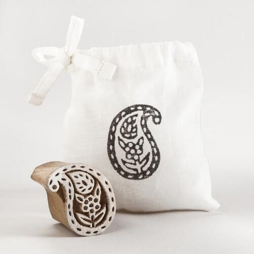 Small Wooden Paisley Stamp