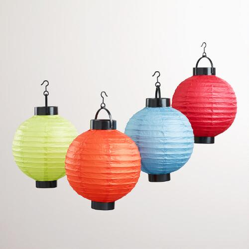 Multicolored Battery-Operated Paper Lanterns, Set of 4