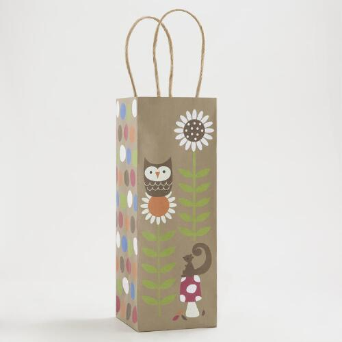 Kraft Owl on Flower Wine Bag
