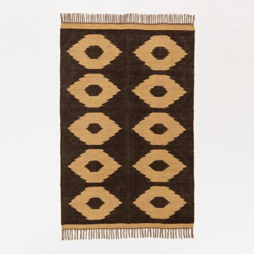 Black and Natural Dot Jute Rug