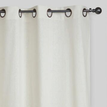 Ivory Bori Cotton Grommet Top Curtains, Set of 2