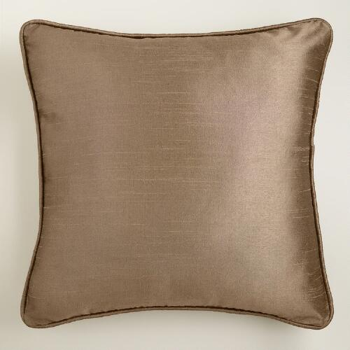 Bronze Dupioni Throw Pillow with Piping