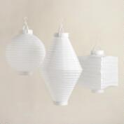 White Battery-Operated Paper Lanterns, Set of 3