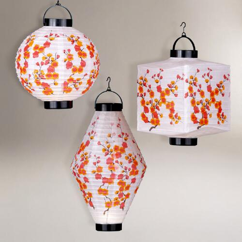 Cherry Blossom Battery-Operated Lanterns, Set of 3