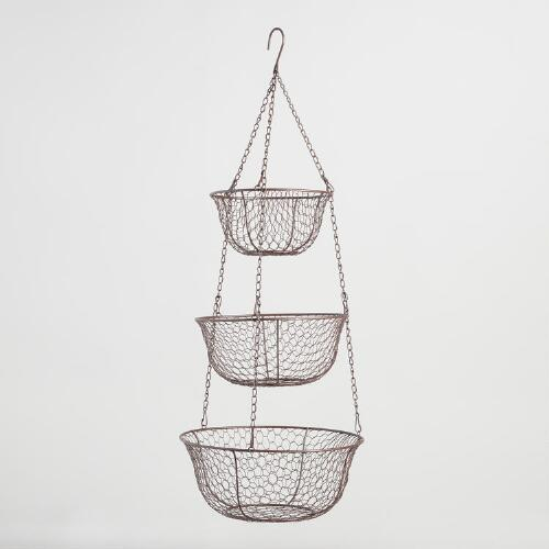 Wire Three-Tier Hanging Basket