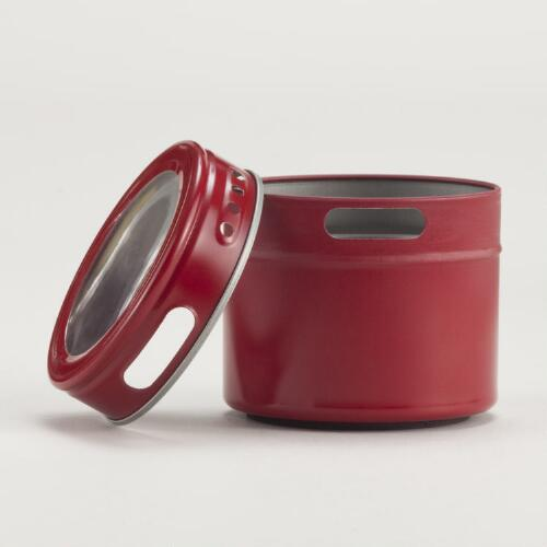 Red Magnetic Storage Tins, Set of 6