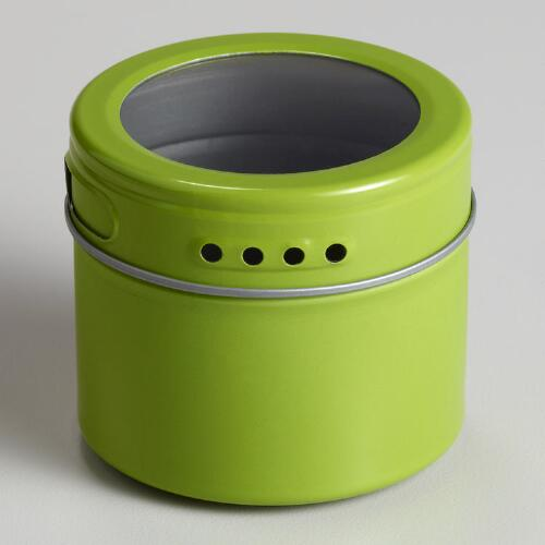 Green Magnetic Storage Tin, Set of 6