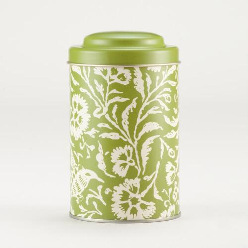 Green Floral Tea Tin