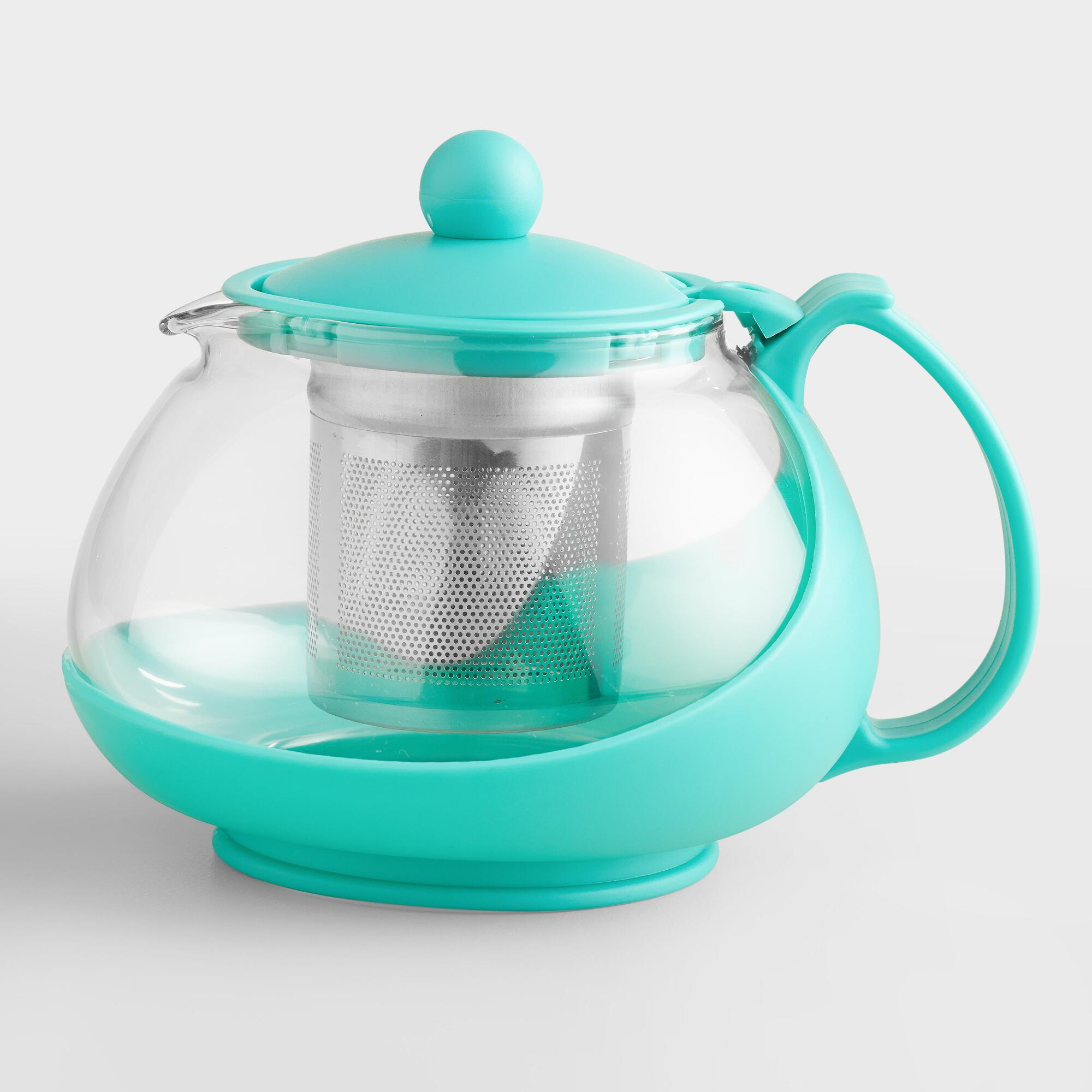 aqua glass teapot infuser world market