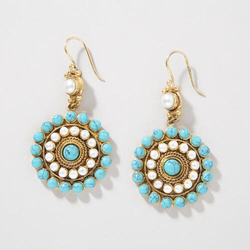 Turquoise Pearl Heirloom Earrings
