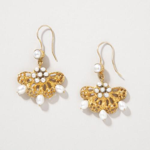 Pearl Fan Heirloom Earrings