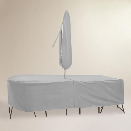 Large Outdoor Table Set Cover with Umbrella Hole