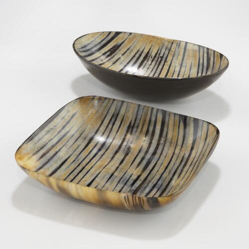Zebra Horn Bowls, Set of 2