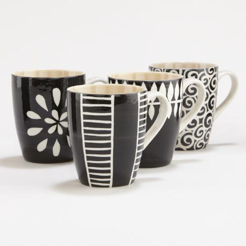 Black and White Animalia Mugs, Set of 4
