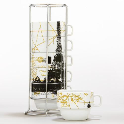 Eiffel Tower Stacking Mugs