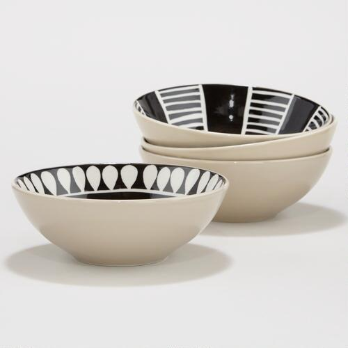 Black and White Animalia Bowls, Set of 4