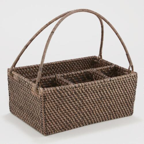 Espresso Rattan Flatware Caddy
