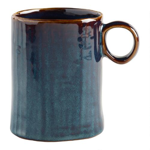 Indigo Reactive Glaze Mugs, Set of 2