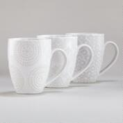 White Wax Resist Mugs, Set of 6