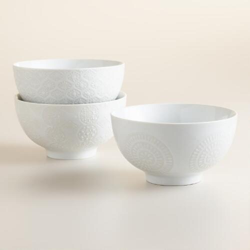 White Wax Resist Bowls, Set of 6