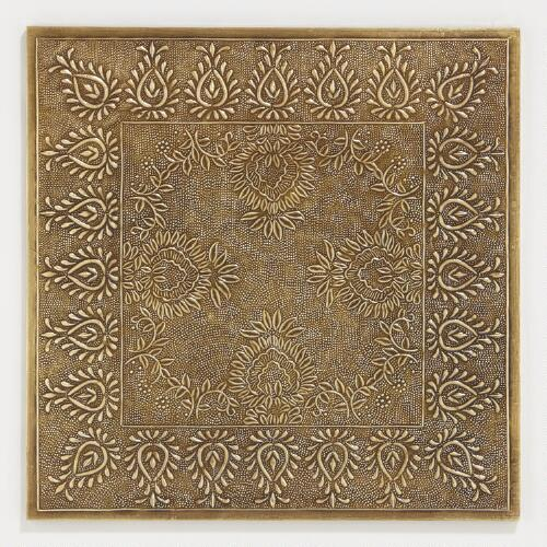 Square Brass Embossed Chargers, Set of 2