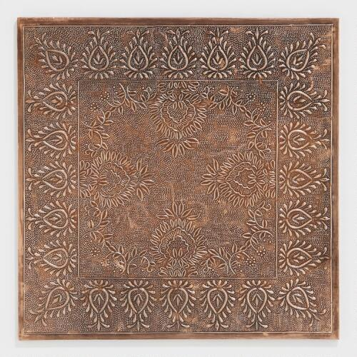 Square Copper Embossed Chargers, Set of 2