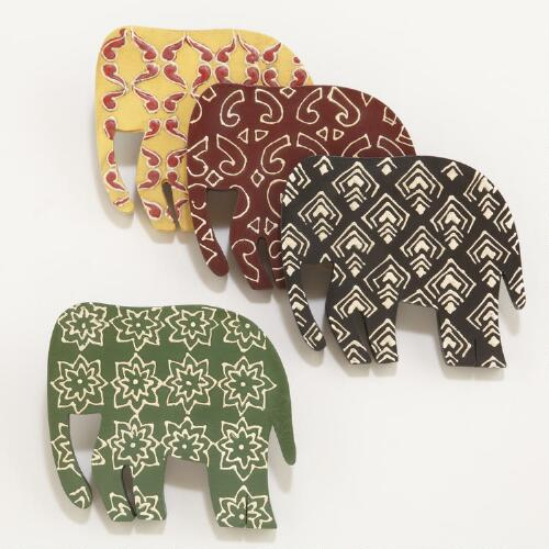 Wooden Batik Elephant Coasters, Set of 4
