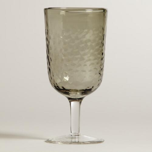 Smoke Hammered Goblet, Set of 4
