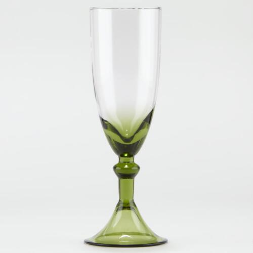 Green Sofia Flute, Set of 2