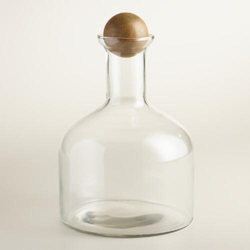 Glass Decanter with Wooden Stopper