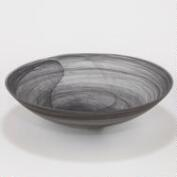 Large Matte Gray Alabaster Serving Bowl